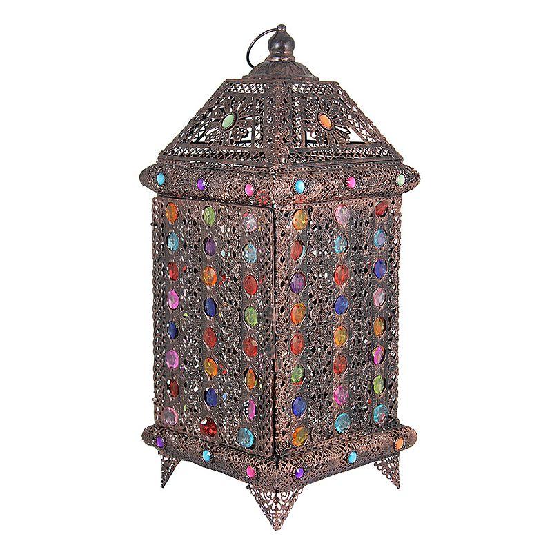 Jeweled Bright Metal Lantern