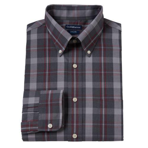 Men's Croft & Barrow® Classic-Fit Heather Plaid Wrinkle-Resistant Button-Down-Collar Dress Shirt