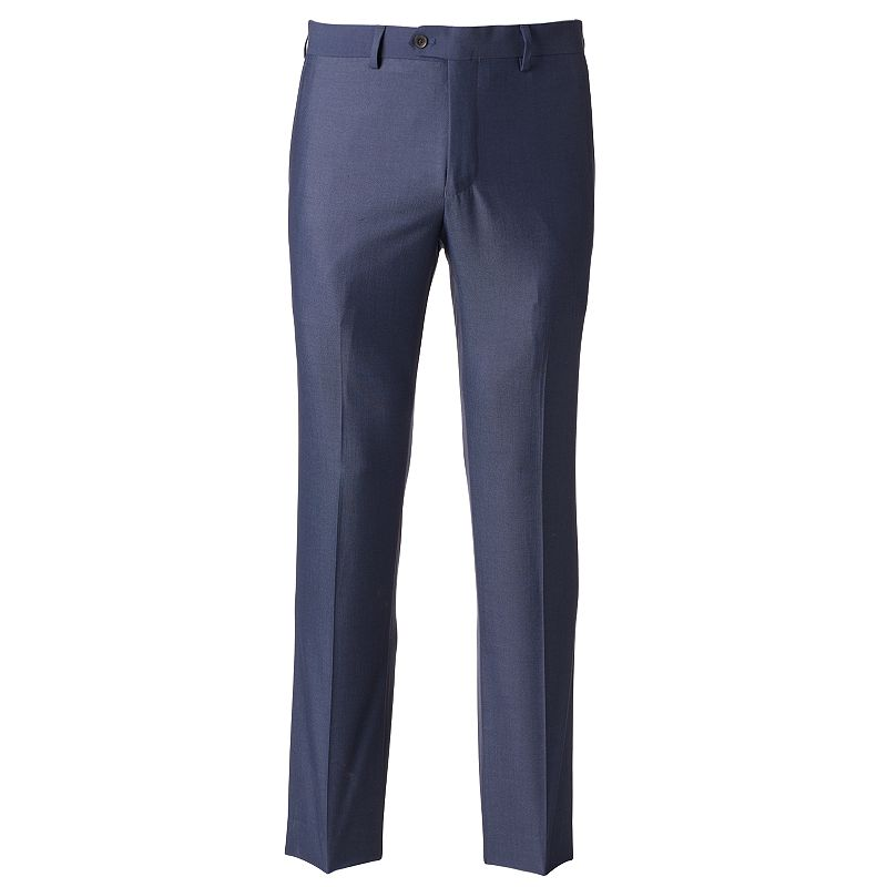 Men's Savile Row Modern-Fit Blue Flat-Front Suit Pants