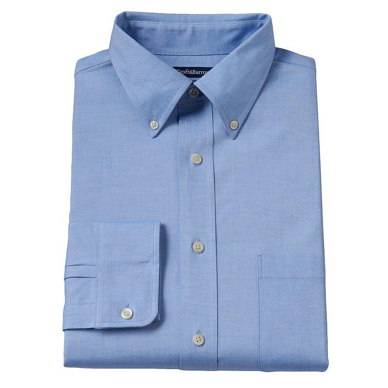 Men's Croft & Barrow® True Comfort Slim-Fit Blue Oxford Easy-Care Stretch Button-Down Collar Dress Shirt