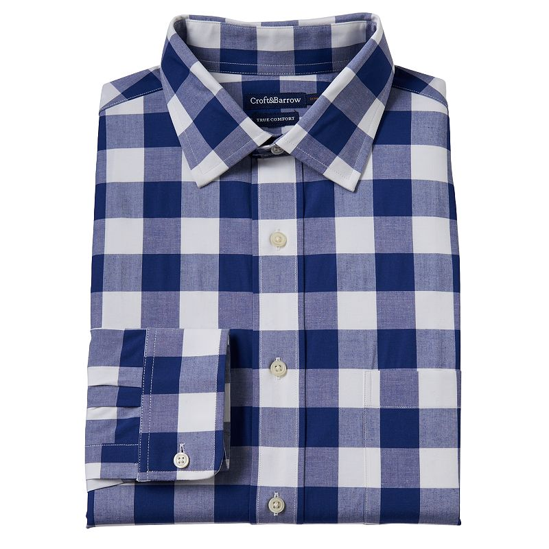 Men's Croft & Barrow® True Comfort Slim-Fit Gingham-Plaid Easy-Care Stretch Spread-Collar Dress Shirt