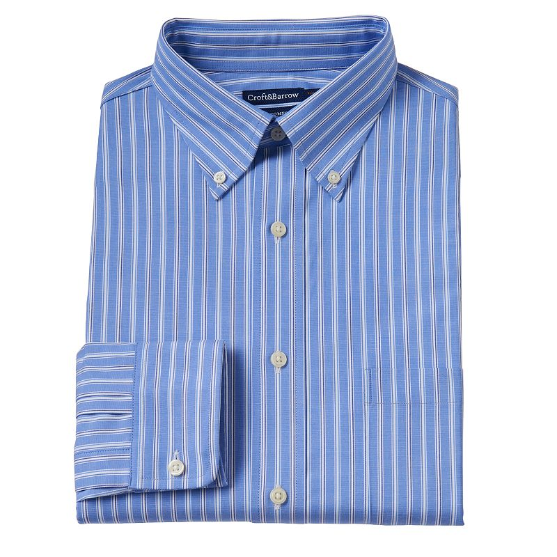 Men's Croft & Barrow® True Comfort Slim-Fit Striped Easy-Care Stretch Button-Down Collar Dress Shirt