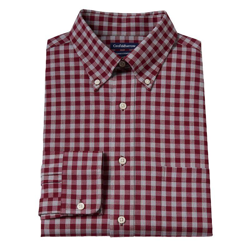 Men's Croft & Barrow® True Comfort Slim-Fit Heather Checked Easy-Care Stretch Button-Down Collar Dress Shirt