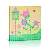 Green Frog Baby Flower Canvas Wall Art