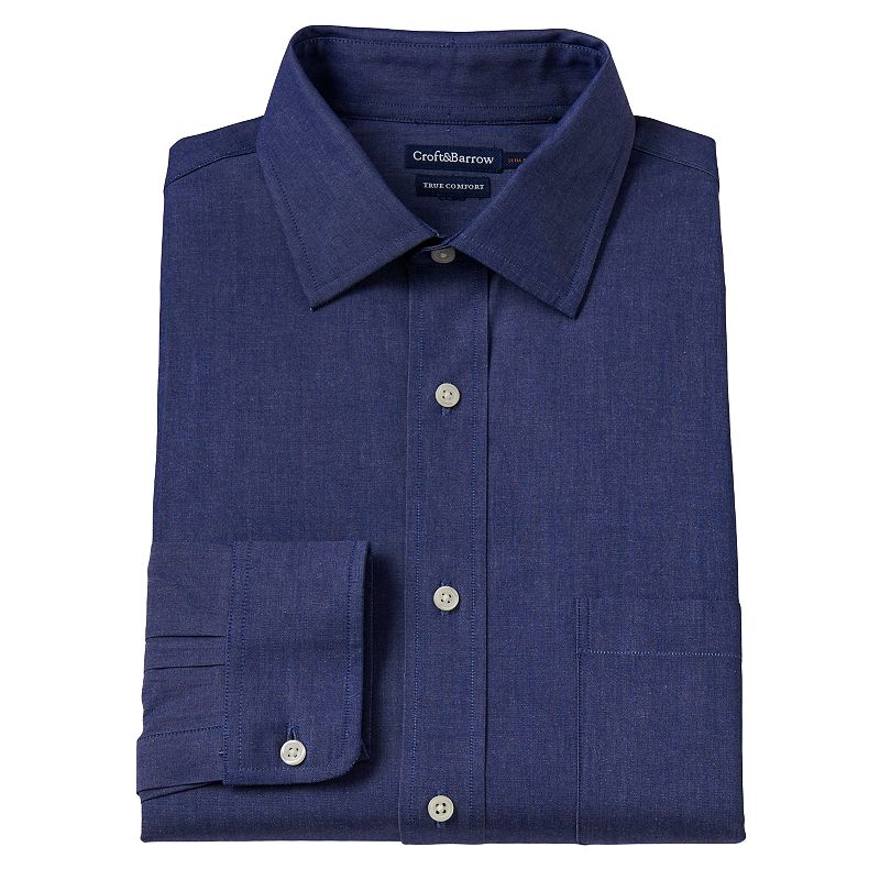 Men's Croft & Barrow® True Comfort Slim-Fit Solid Chambray Easy-Care Stretch Button-Down Collar Dress Shirt
