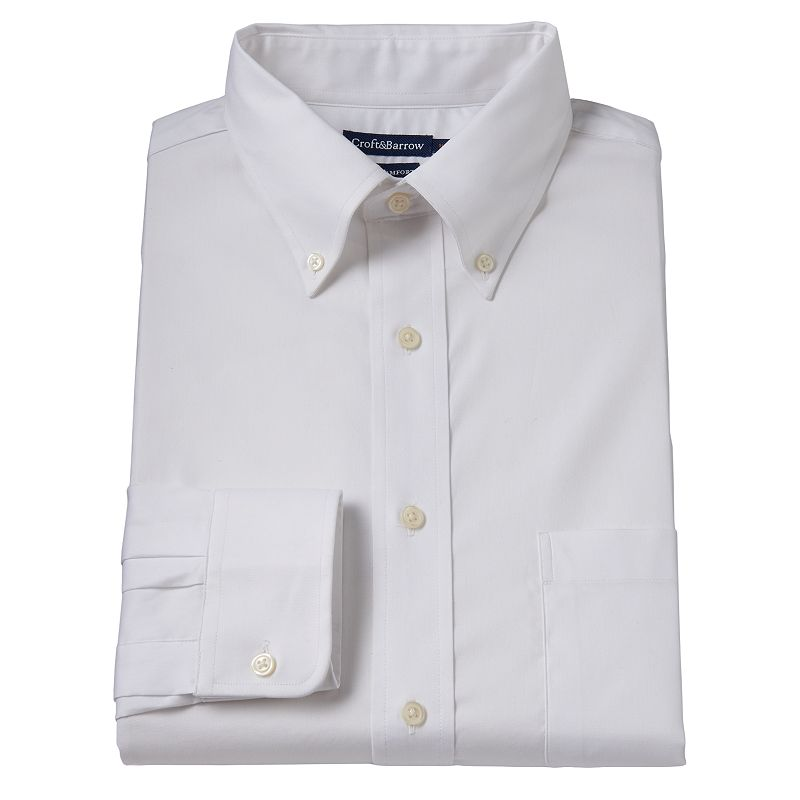 Men's Croft & Barrow® True Comfort Slim-Fit White Oxford Easy-Care Stretch Button-Down Collar Dress Shirt