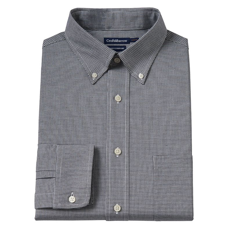 Men's Croft & Barrow® True Comfort Slim-Fit Micro-Checked Oxford Easy-Care Stretch Button-Down Collar Dress Shirt