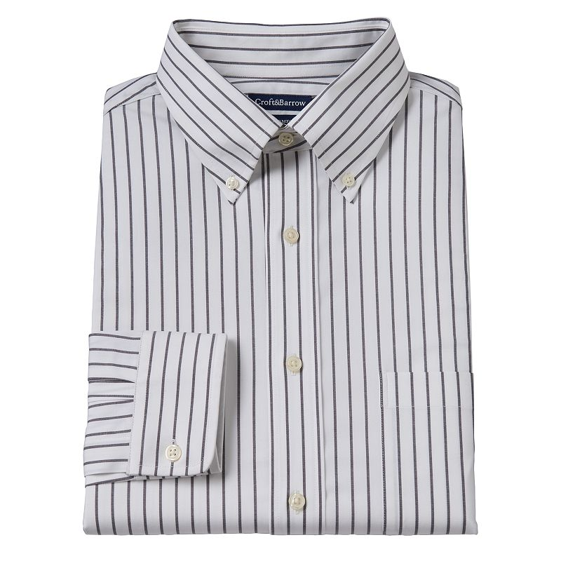 Men's Croft & Barrow® True Comfort Slim-Fit Striped Oxford Easy-Care Stretch Button-Down Collar Dress Shirt