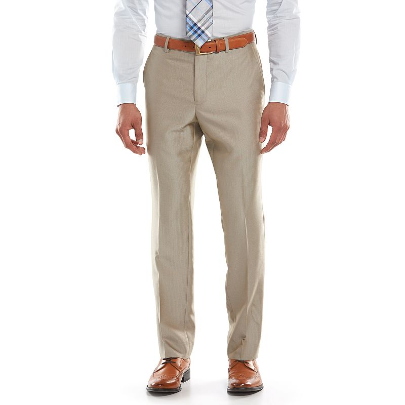 Men's Savile Row Modern-Fit Tan Herringbone Flat-Front Suit Pants