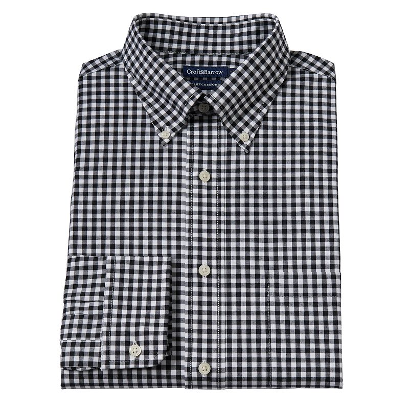 Men's Croft & Barrow® True Comfort Slim-Fit Gingham-Checked Easy-Care Stretch Button-Down Collar Dress Shirt