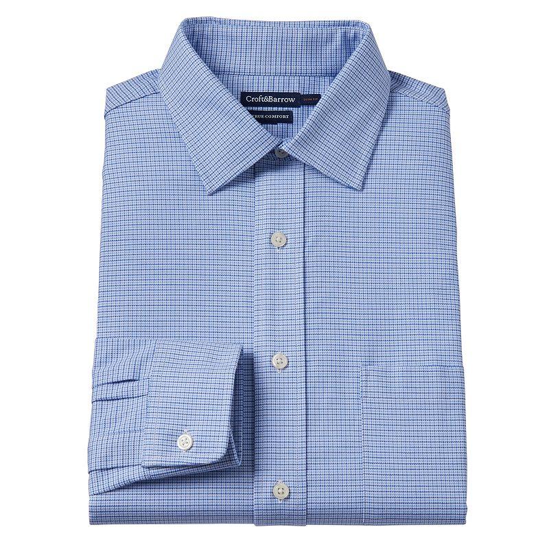 Men's Croft & Barrow® True Comfort Slim-Fit Micro Grid Easy-Care Stretch Spread Collar Dress Shirt