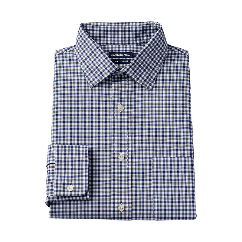 Men's Croft & Barrow® True Comfort Slim-Fit Checked Stretch Dress Shirt