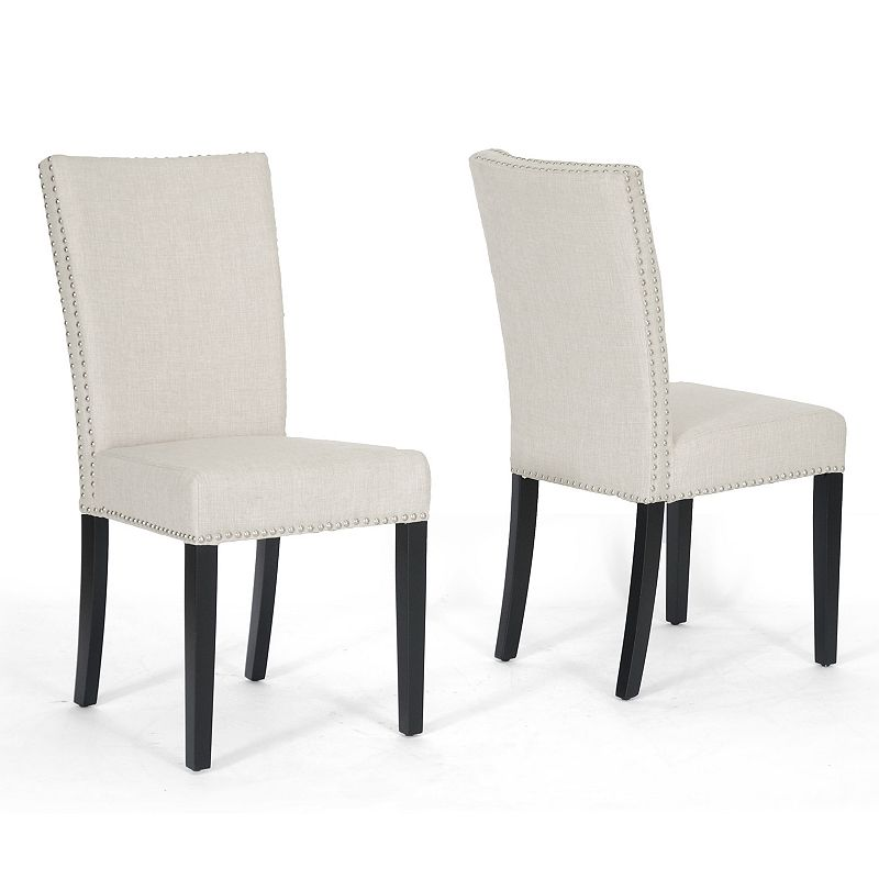 Baxton Studios Harrowgate 2-Piece Linen Dining Chair Set