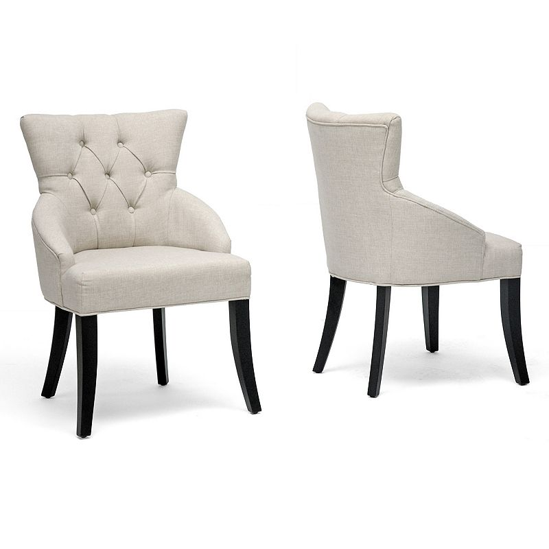 Baxton Studios 2-Piece Halifax Linen Dining Chair Set