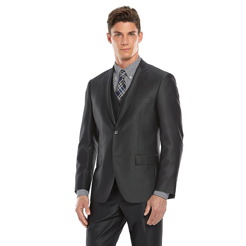 Men's Savile Row Modern-Fit Charcoal Sharkskin Suit Jacket
