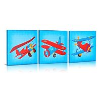 Green Frog Baby Let's Fly 3-pk. Airplane Canvas Wall Art