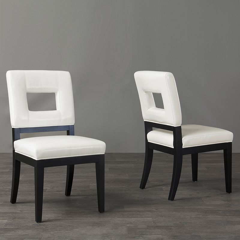 Baxton Studios 2-Piece Faustino Leather Dining Chair Set