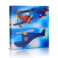 Green Frog Baby Flying High Canvas Wall Art