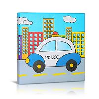 Green Frog Baby Police Canvas Wall Art
