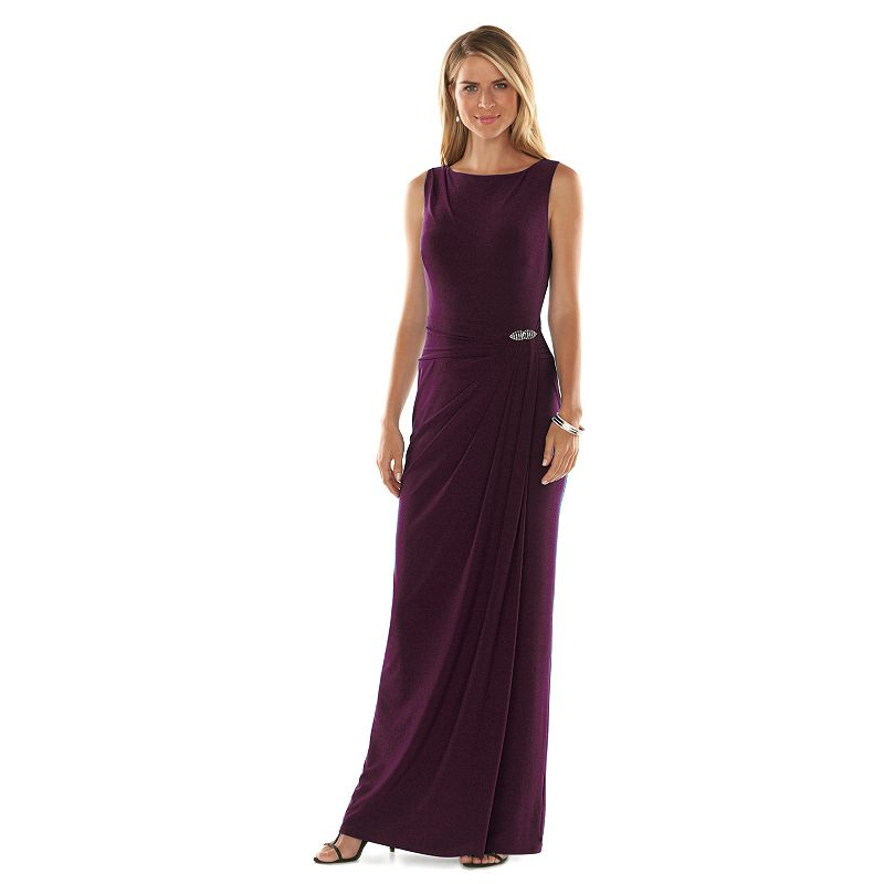 Chaps Sleeveless Embellished Faux-Wrap Evening Gown