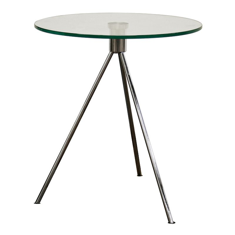Baxton Studios Triplet Round Glass End Table