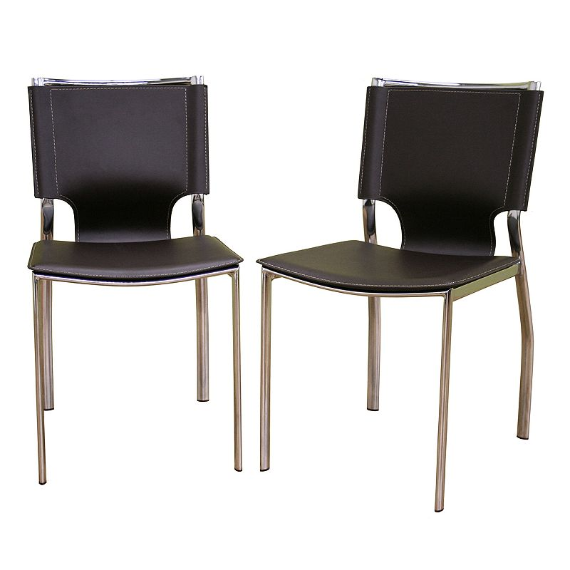 Baxton Studios 2-Piece Leather Dining Chair Set