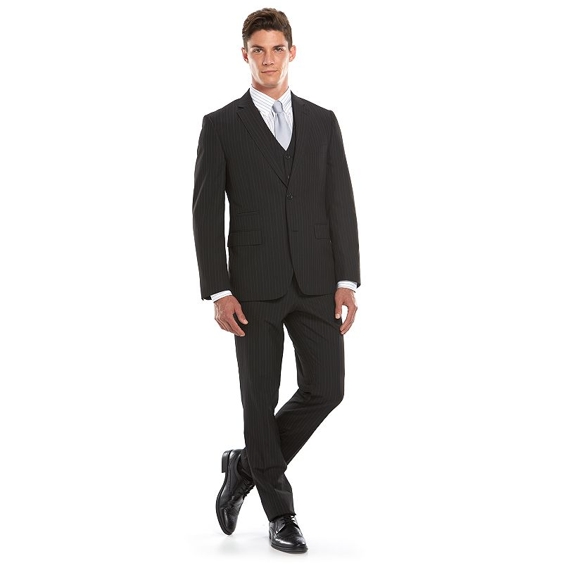 Men's Savile Row Modern-Fit Pinstripe Black Suit