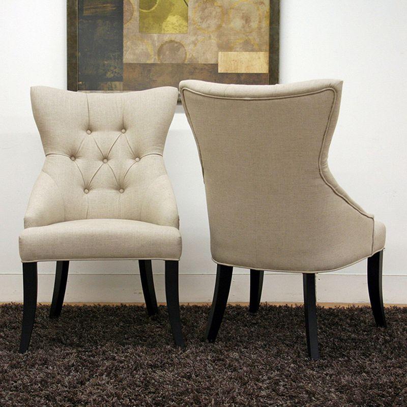 Baxton Studios 2-Piece Daphne Linen Modern Dining Chair Set
