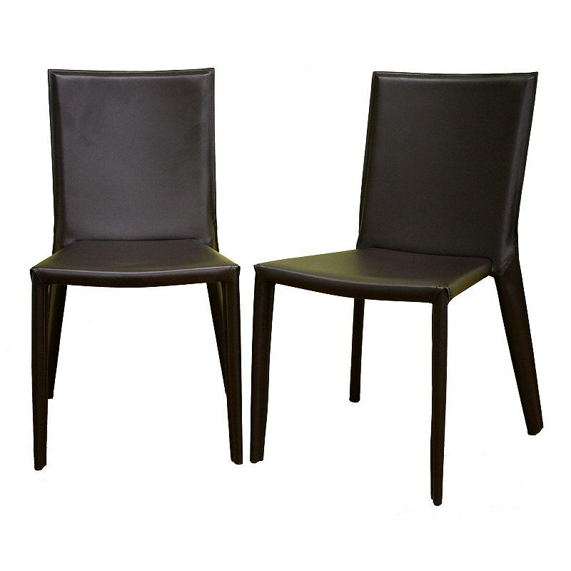 Baxton Studios Semele 2-Piece Leather Dining Chair Set