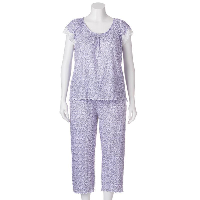 Miss Elaine Essentials Pajamas: Printed Top & Capris Pajama Set - Women's Plus Size (Grey)