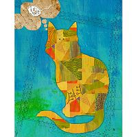 Green Leaf Art Thoughtful Dog and Cat Canvas Wall Art