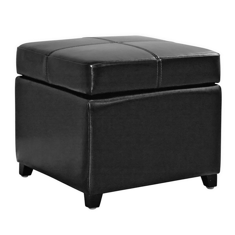 Baxton Studios Leather Storage Cube Ottoman