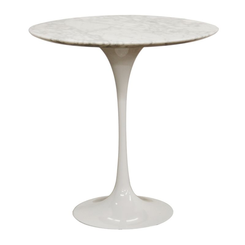Baxton Studios Immer Marble Mid-Century Style End Table, White
