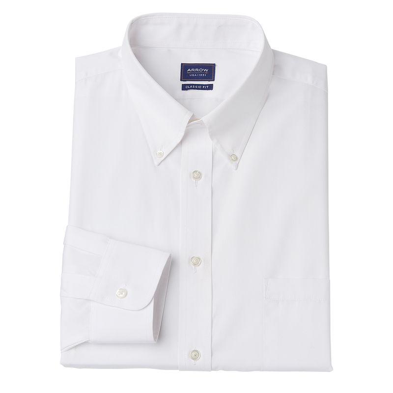Men's Arrow Classic-Fit Button-Down Collar Dress Shirt - Men