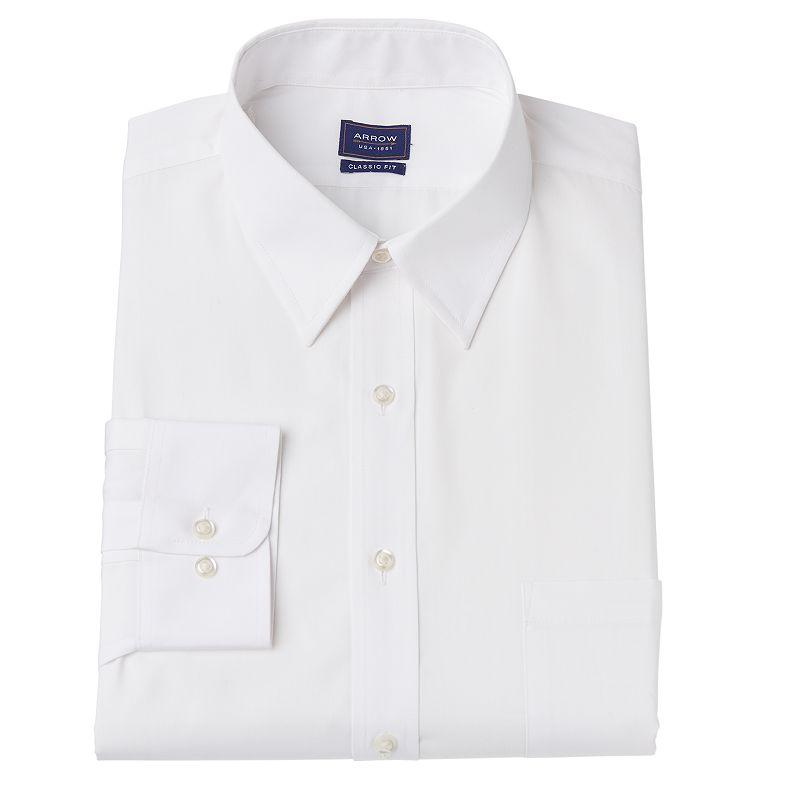 Men's Arrow Classic-Fit Point Collar Dress Shirt - Men