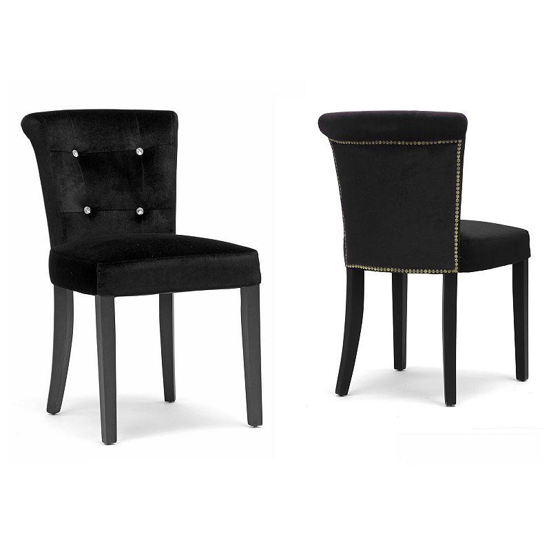 Baxton Studios Larouche Velveteen Modern Dining Chair Set