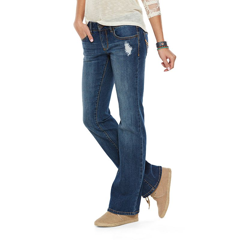 SO Destructed Bootcut Jeans - Juniors