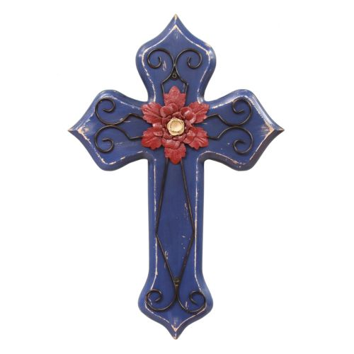 Stratton Home Decor Blue Cross Wall Decor
