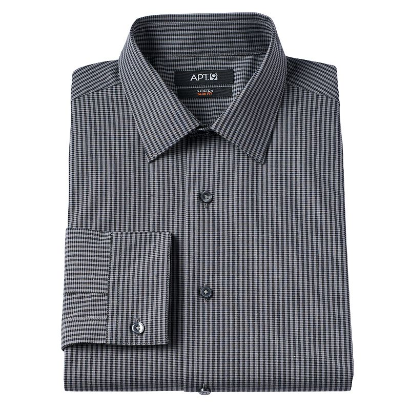 Men's Apt. 9® Slim-Fit Checked Stretch Spread-Collar Dress Shirt