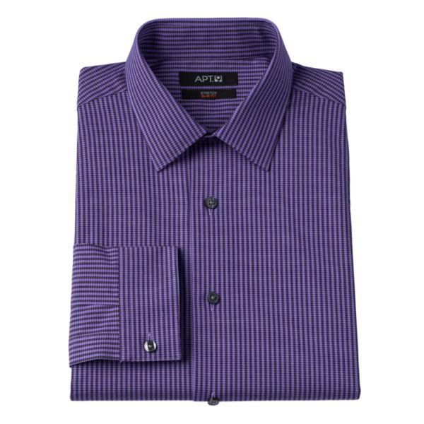 Men's Apt. 9® Slim-Fit Checked Stretch Spread-Collar Dress Shirt