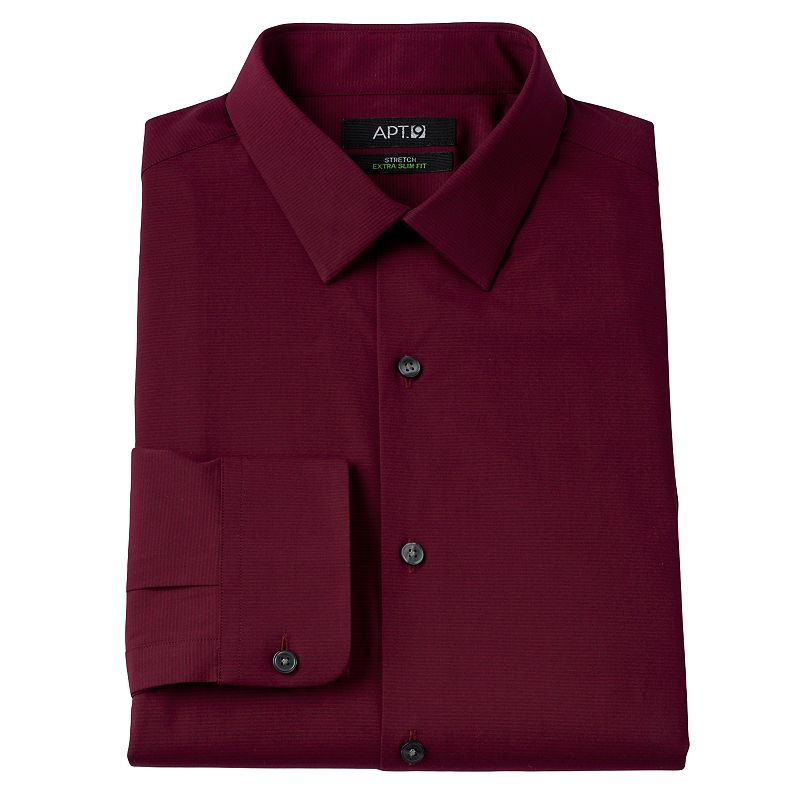 Men 39 s apt 9 extra slim striped stretch wrinkle resistant for Apartment 9 dress shirts