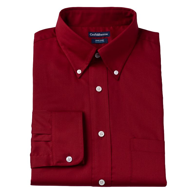 Men's Croft & Barrow® Classic Fit Solid Easy-Care Button-Down Collar Dress Shirt