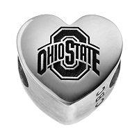 Fiora Sterling Silver Ohio State Buckeyes Logo Heart Bead