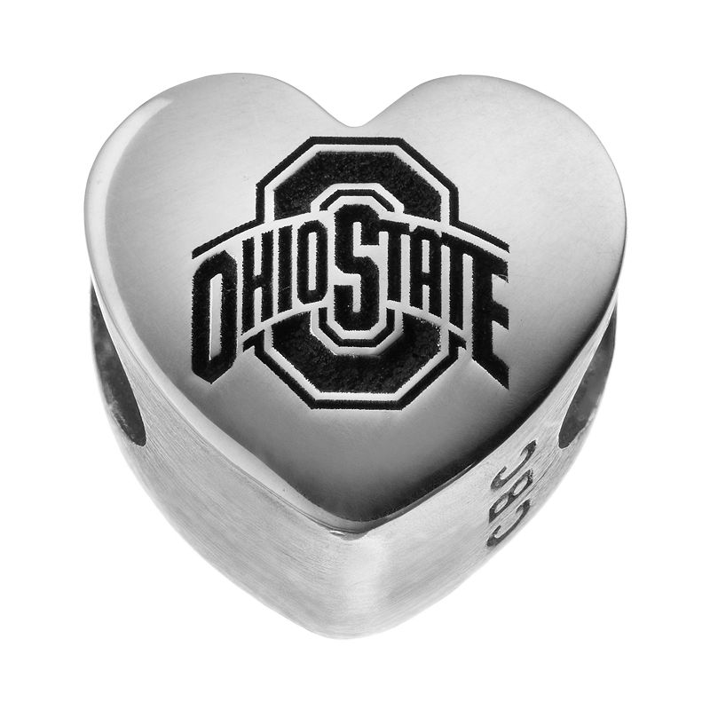 Fiora Sterling Silver Ohio State Buckeyes Logo Heart Bead
