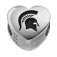 Fiora Sterling Silver Michigan State Spartans Logo Heart Bead