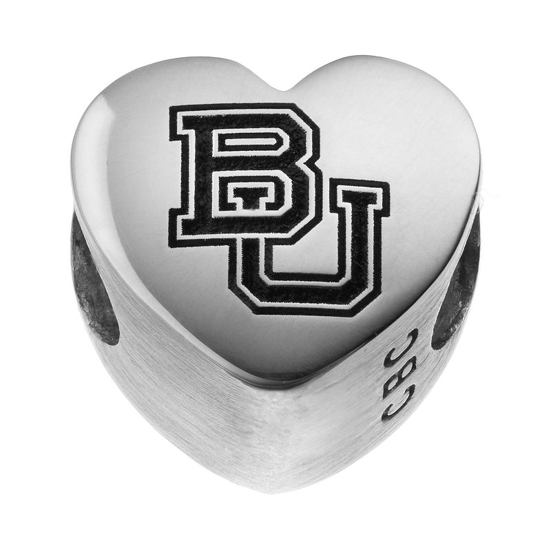 Fiora Sterling Silver Baylor Bears Logo Heart Bead