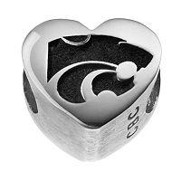 Fiora Sterling Silver Kansas State Wildcats Logo Heart Bead