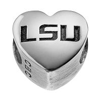 Fiora Sterling Silver Louisiana State Tigers Logo Heart Bead