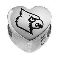 Fiora Sterling Silver Louisville Cardinals Logo Heart Bead