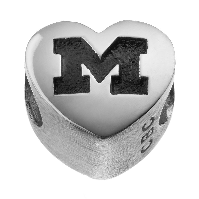 Fiora Sterling Silver Michigan Wolverines Logo Heart Bead